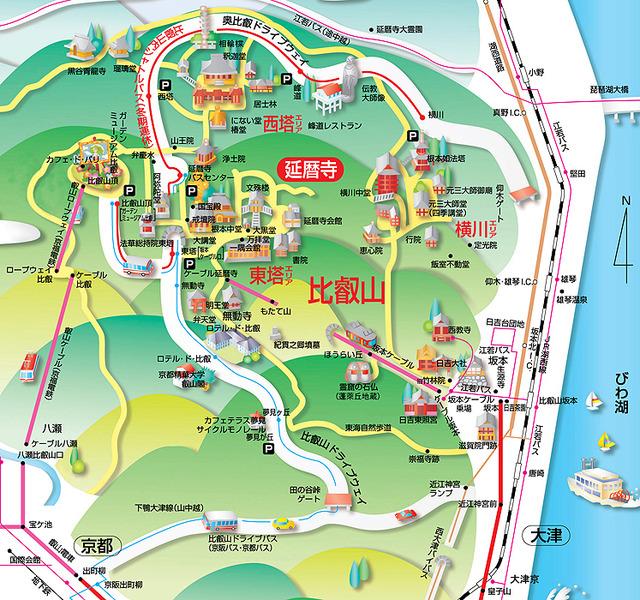 比叡山延暦寺および周辺地図