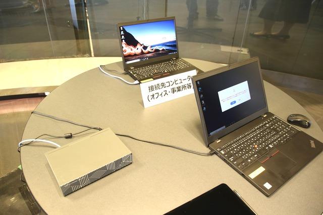 「Telework Station」を利用して、自宅端末から社内PCを操作するデモ