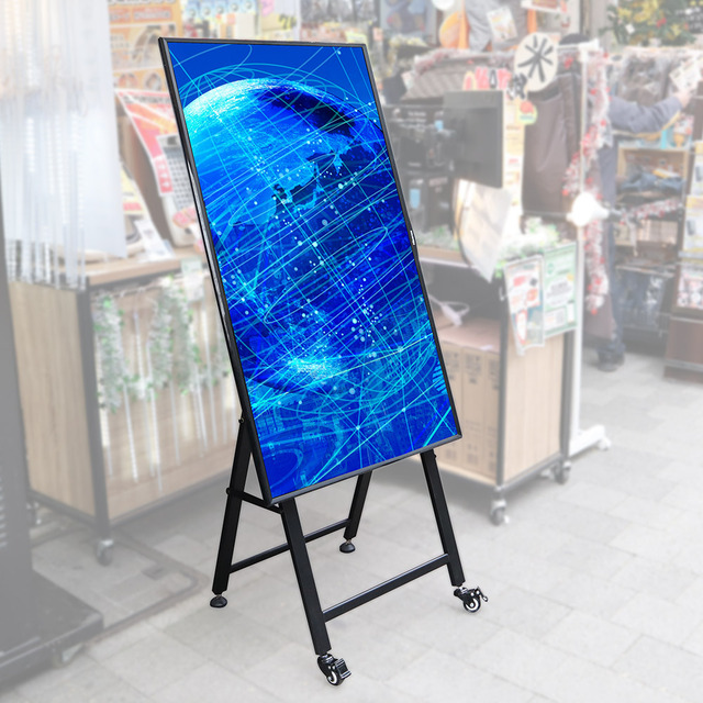 "Photo of "" Digital signage stand '' compatible with general-purpose monitors up to 55 inches and can be introduced at a low cost of less than 10,000 yen"