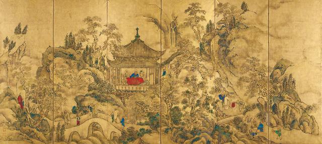 008_1 楼閣山水図屏風 東京国立博物館(左隻)