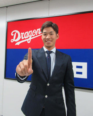 中日京田500万円増、背番号1へ「恥じないよう」