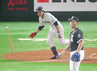 初選出の侍J田中和ようやく6回チーム初安打3回好捕に続くアピール