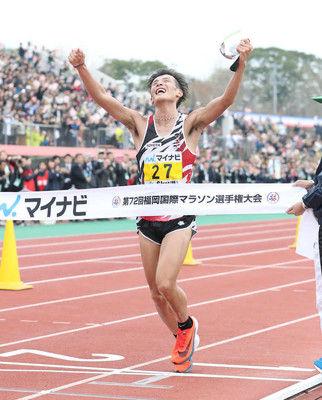 服部勇馬、日本人14年ぶりV「35キロ以降の課題を克服できた」福岡国際マラソン