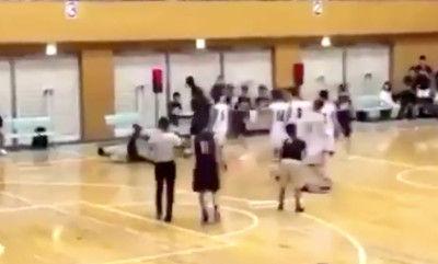 高校バスケ試合で延岡学園選手が審判の顔面殴打口10針縫うけが