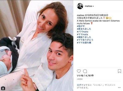 モデルのMALIA.が第4子男児を出産、元Jリーガー三渡洲と4度目婚