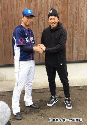広島・長野と西武・内海が即席の爆笑会見「めっちゃレアですよ」