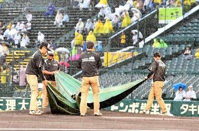 阪神、ロッテ戦(甲子園)は降雨中止スタメン発表も雨が止まず