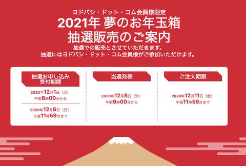ヨドバシの福袋「2021年 夢のお年玉箱」、本日08時より抽選受付開始