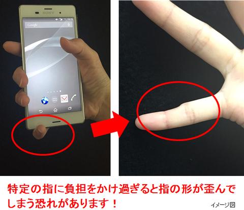 スマホの持ち方で指が変形