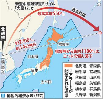北朝鮮ICBM日本上空を通過