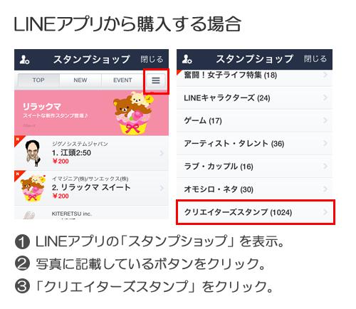 LINEアプリから購入する場合。1.LINEアプリの「スタンプショップ」を表示。2.写真に記載しているボタンをクリック。3.「クリエイターズスタンプ」をクリック。