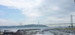 明石海峡大橋 高校時代教室の窓から眺めた