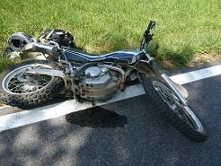 バイクがデングリ返し
