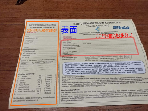 indoneshia entrance into country health alert card