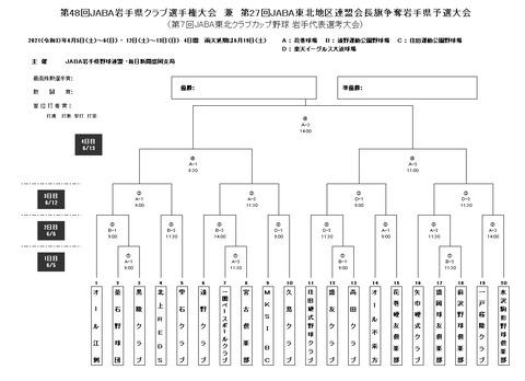 第48回JABA岩手県クラブ選手権組み合わせ