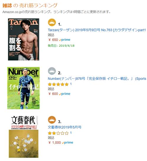 Amazon雑誌売上ランキング