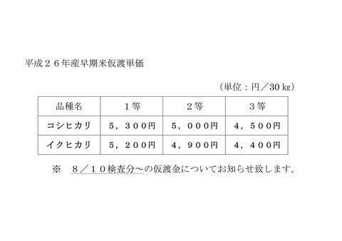 早期米仮渡単価