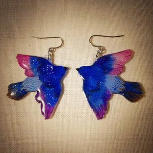 青い鳥 ピアス UVレジン プラバン