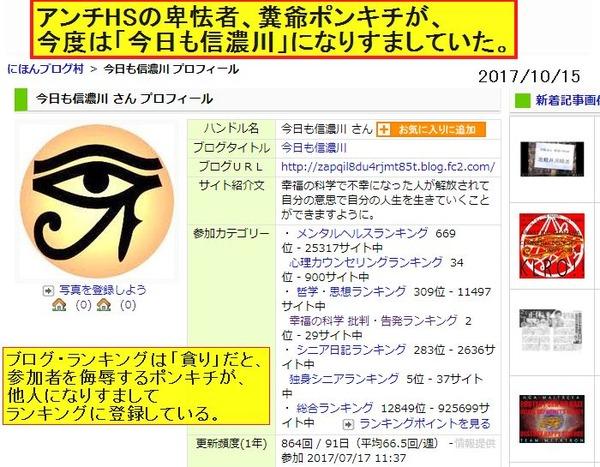 アンチHSの卑怯者ポンキチが「今日も信濃川」氏になりすましてブログをやっていた