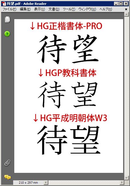 待望・HG正楷書体-PRO・HGP教科書体・HG平成明朝体W3