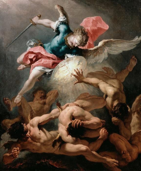 堕天使をを地上に落とすミカエル