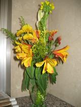 2月管理人室前カウンターの花
