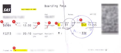 スカンジナビア航空搭乗券(Boarding Pass)