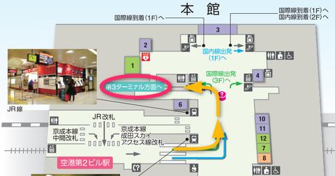 成田空港第2ターミナルから第3ターミナルへのルート