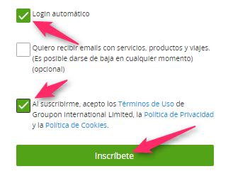スペイン版グルーポンのアカウント登録