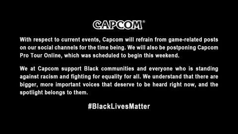 カプコン、black lives matter運動を支持 プロツアーは延期へ