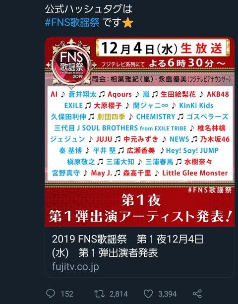 エフエヌエス 歌謡 祭 2019 出演 者