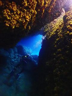洞窟を見上げて
