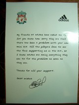 Apologizing for Out of Stock of Liverpool Kit by SG