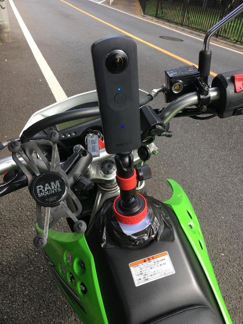 KLX125+Ricoh THETA S 中央マウント