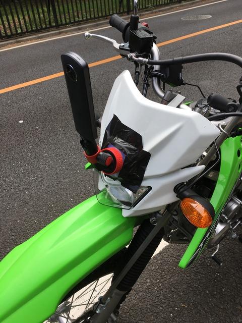 KLX125+Ricoh THETA S 前方マウント