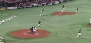 松田3塁ベース自ら踏んでダブルプレー成立