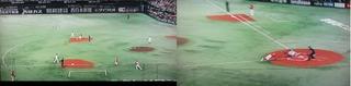 柳田から明石へのダイレクト送球