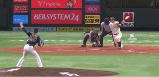 松田が三遊間へしぶとく抜けるヒットで2点先制