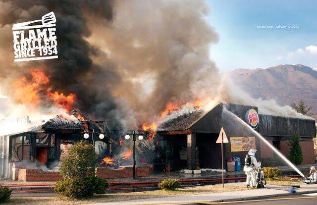 バーガーキング 直火焼き 広告 火事に関連した画像-03