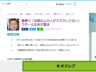 ラサール石井 電車 マスク 新型コロナウイルス 自粛に関連した画像-02