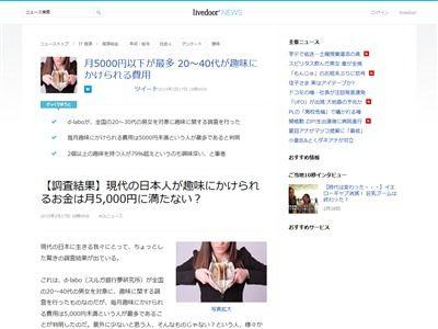 趣味 費用 20代 40代 月5000円 お金に関連した画像-01
