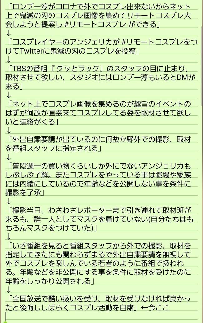 リモートコスプレ コスプレイヤー 外出自粛 テレビ ヤラセ 捏造に関連した画像-02