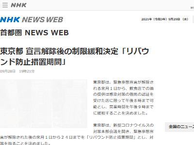 緊急事態宣言 まん延防止等重点措置 宣言解除 東京都 小池百合子 リバウンド防止措置期間に関連した画像-02