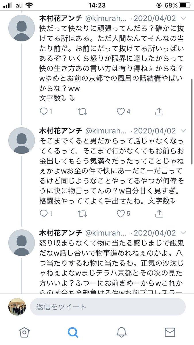 誹謗 アカウント 花 木村 中傷