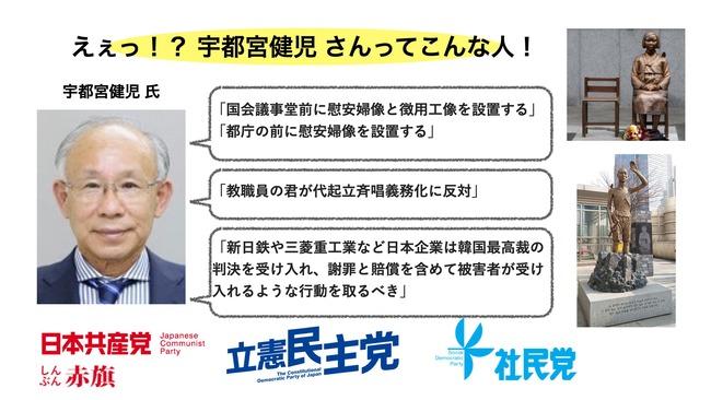 都知事選 宇都宮健児 慰安婦 左翼 野党に関連した画像-02