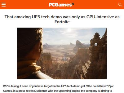 フォートナイト PS5 デモ アンリアルエンジン5 GPUに関連した画像-02