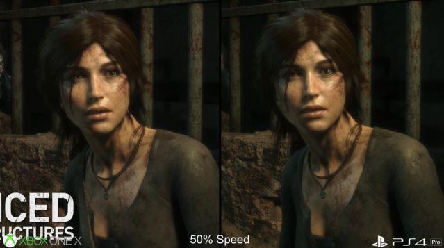 PS4Pro XboxOneX グラフィック 比較 ライズオブトゥームレイダー ハードに関連した画像-09