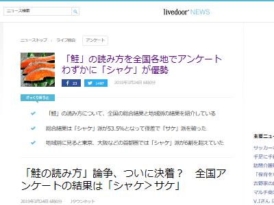 鮭 シャケ サケ 読み方 主流 アンケートに関連した画像-02