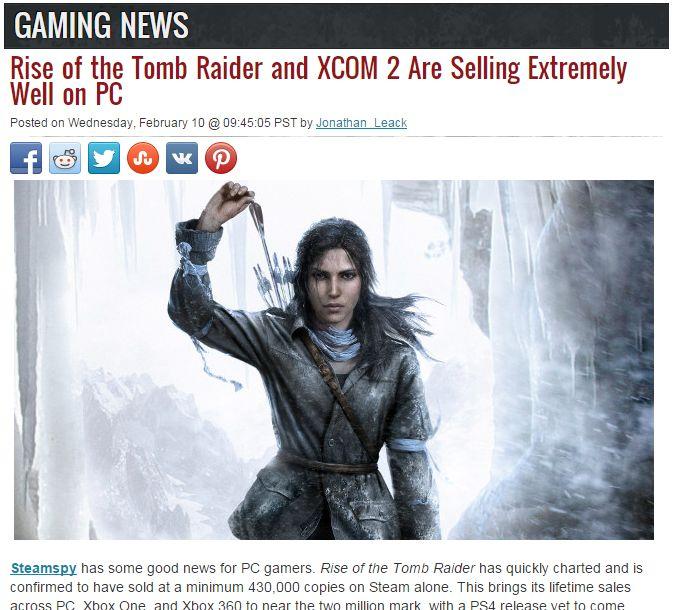 ライズオブトゥームレイダー PC版 売上 XboxOneに関連した画像-02