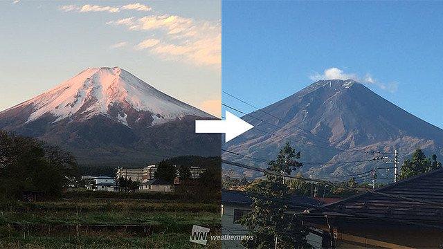 富士山 トレードマーク 白帽子 雪 台風22号 消滅に関連した画像-01